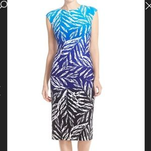 Vince Camuto Ombre Print Stretch Scuba Midi Dress